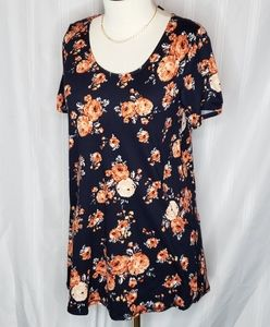 Navy Coral Floral Everyday Tee By A&D